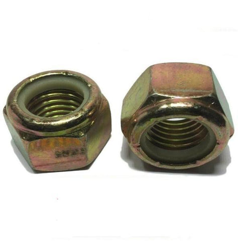 "7/16""-14 Grade 8 Nylon Insert Lock Nuts Nylock Yellow Zinc Plated"