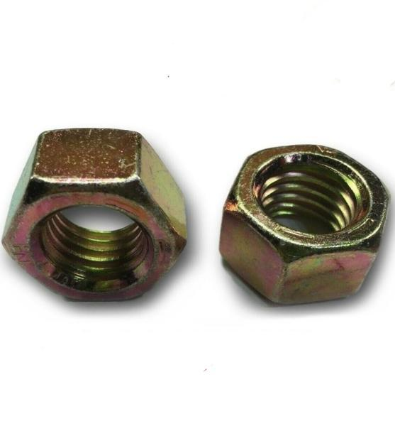 (Qty 25) 9/16-18 Fine Grade 8 Finish Hex Nuts Yellow Zinc Plated Hardened