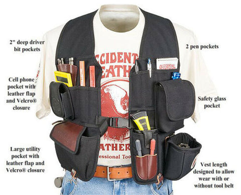 Occidental Leather 2535 Leather Builders Vest Compact Tool Carrying System