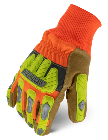 IronClad IEX-HVIP5 Impact Winter Leather A6 Cut Level Gloves Hi-Viz