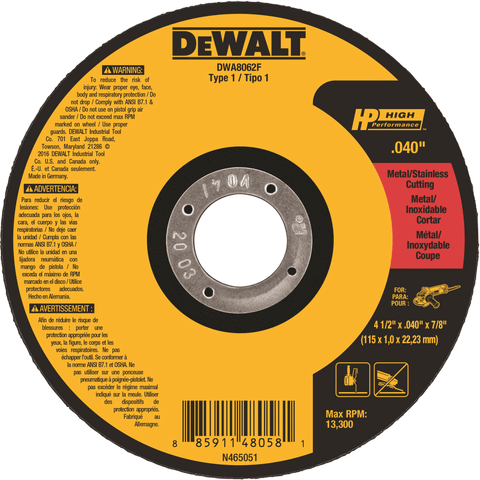 "Dewalt DWA8062L 4 1/2"" x 1/16""x 7/8"" T1 Metal Cutting Cut-off Wheels"