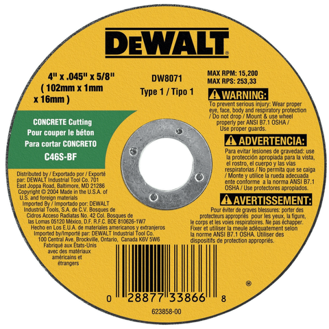 "DeWalt DW8071 Concrete Masonry CuttIng Wheel 4"" x .045 x 5/8"""