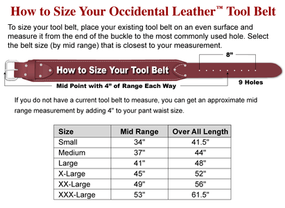 "Occidental Leather 8003 3"" Leather Industrial Nylon Tool Belt"