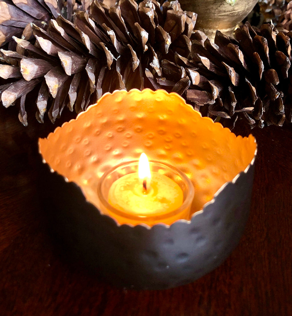NEW! Decorative Tealight Holder and 3 Tealights Gift Set - Gold and Bronze