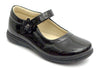 Girls Black Flower Strap Shoes - Boston School Uniform