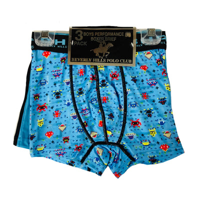 Beverly Hills Polo Club - 3-pack Boys Performance Boxer Briefs Blue/Black/Multi