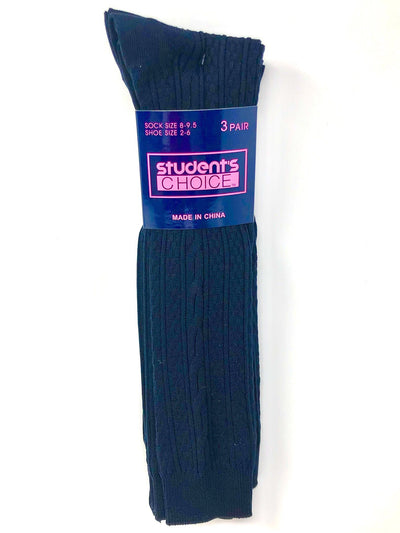 Students Choice Brand - Girls 3-Pack -Cable Knee-High - Boston School Uniform