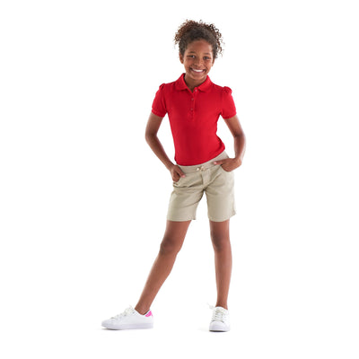 Girls Stretch Pull-On Tie Front Shorts - Khaki - Boston School Uniform