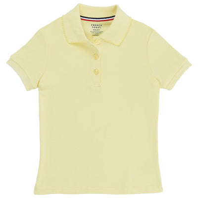 Girls Short Sleeve Picot Collar Interlock Polo - Plus Size - Boston School Uniform