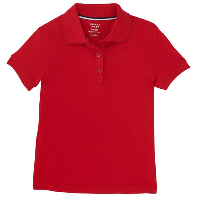Girls Short Sleeve Picot Collar Interlock Polo - Boston School Uniform