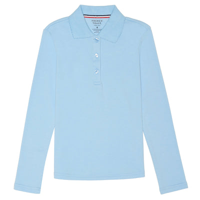Girls Long Sleeve Picot Collar Interlock Polo - Boston School Uniform