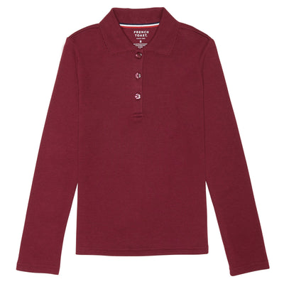 Girls Long Sleeve Picot Collar Interlock Polo