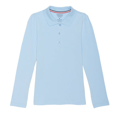 Girls Long Sleeve Stretch Pique Polo - Plus Size