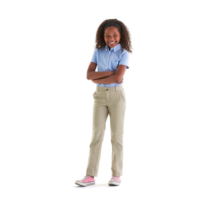 Girls Stretch Twill Straight Leg Pants - Boston School Uniform