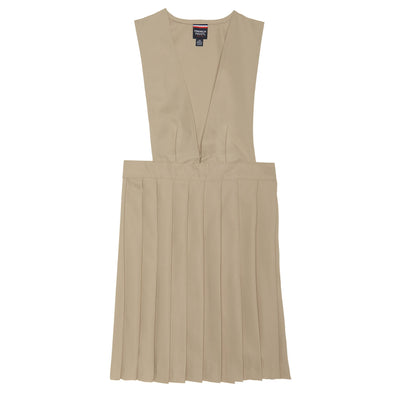 V-Neck Pleated Jumper - Khaki - Boston School Uniform