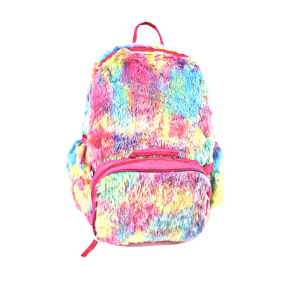 Rainbow Tie-Dye Faux Fur Backpack With Lunchbox