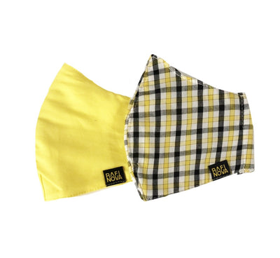 2-Pack- 3-Ply Reversible Pink/Yellow/Plaid Fabric Face Masks