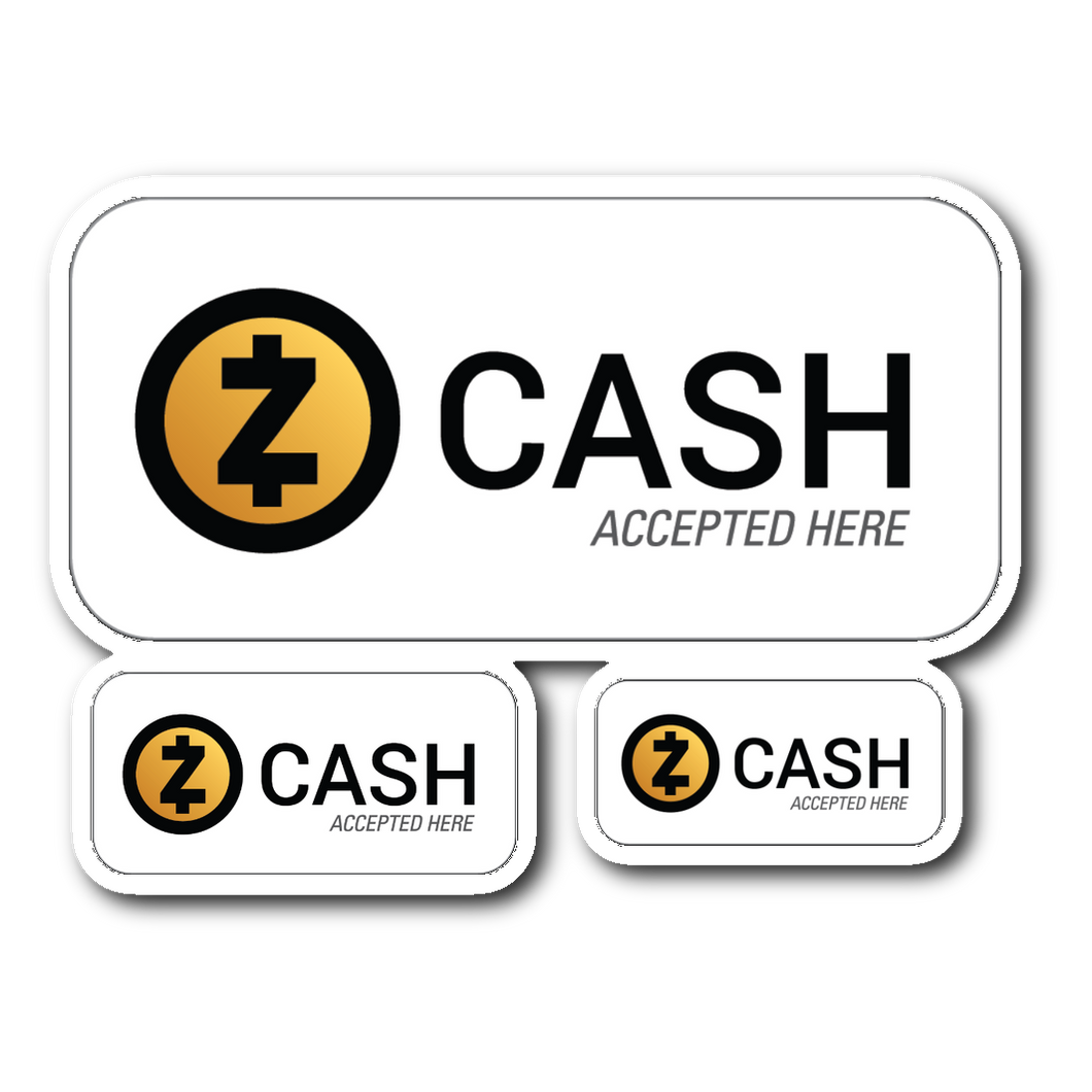 Zcash Accepted Here Stickers White