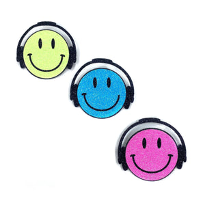 Badge Smiley Headphone Bright Blue