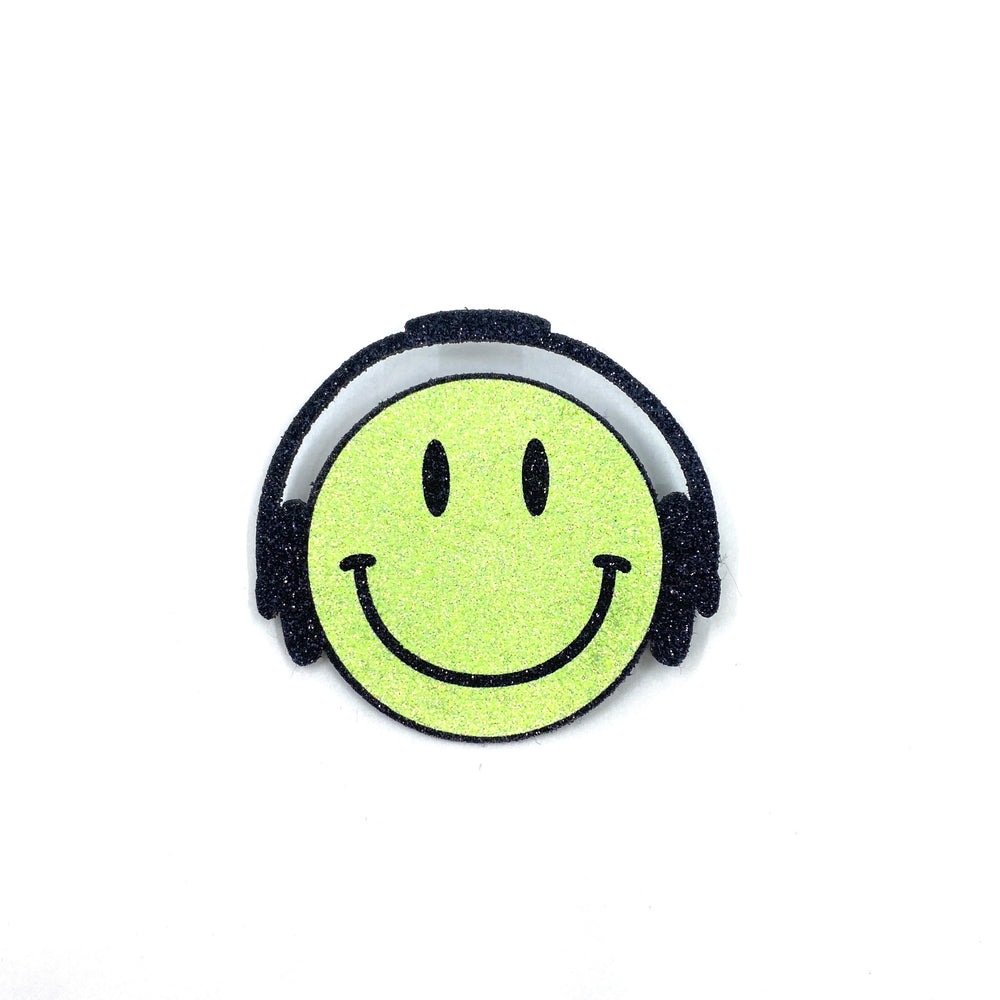 Badge Smiley Headphone Neon Yellow