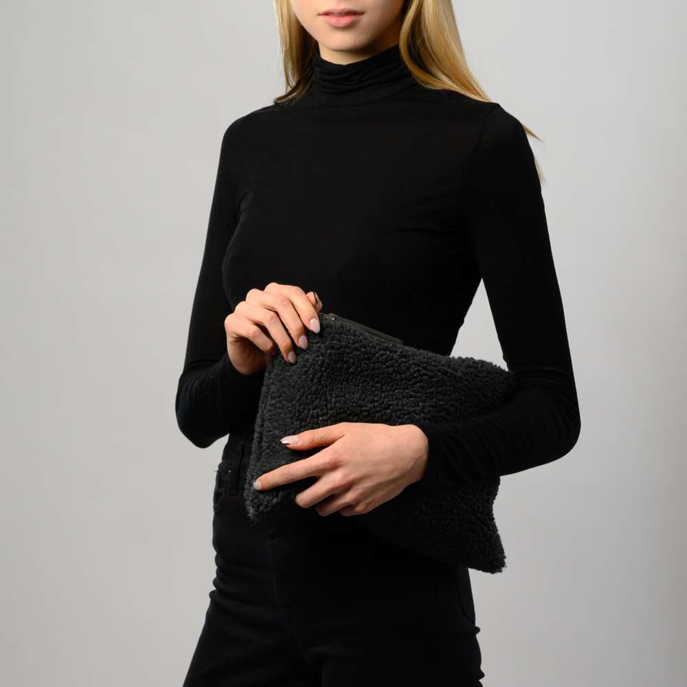 Teddy Clutch Dark Grey