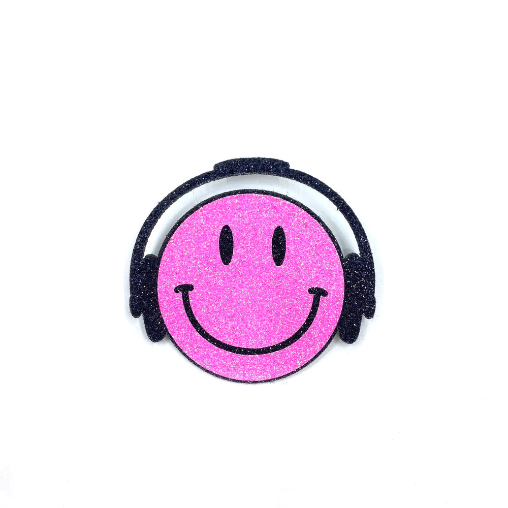 Badge Smiley Headphone Bright Pink