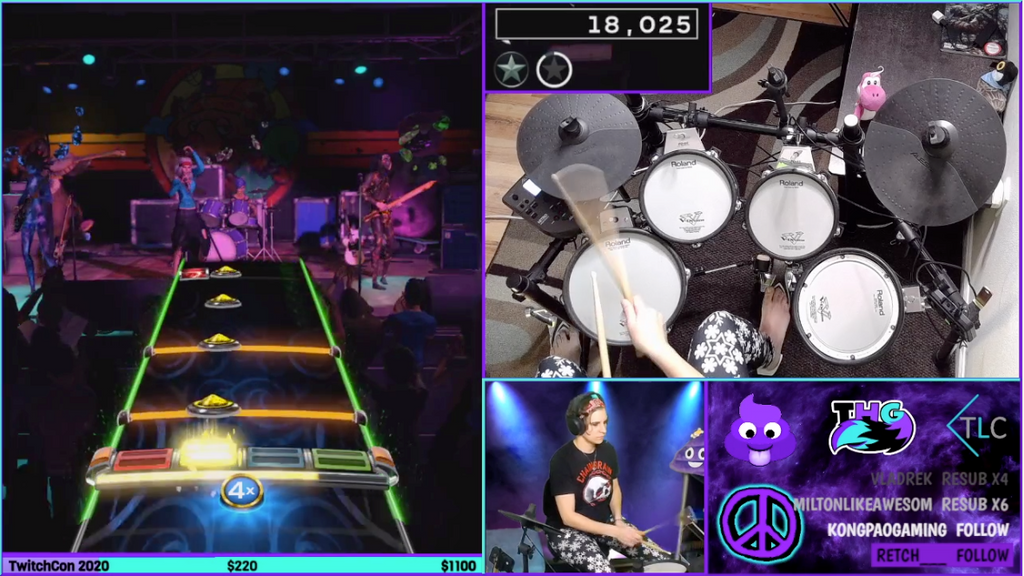 Melodee420 drumming on her Twitch Channel