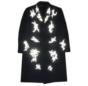 """Thunderstorms"" wool coat with reflective print"