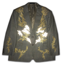 """Veins of Gold"" jacket with multilayered print"
