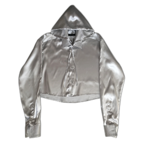 Glossy Cropped Hooded Shirt