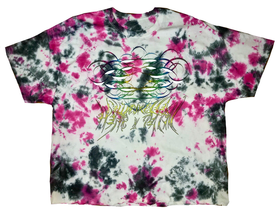 Chiveskella x HatexPain oversized tie-dye shirt with double print