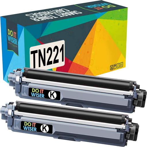 Compatible Brother TN221 Toner Black 2 Pack High Yield by Do it Wiser