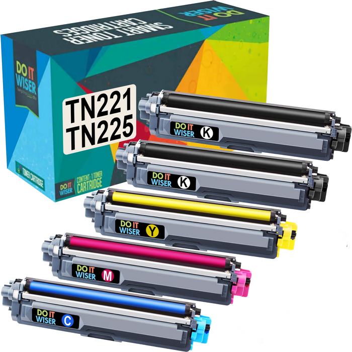 Compatible Brother TN 225 Toner 5 Pack High Yield by Do it Wiser