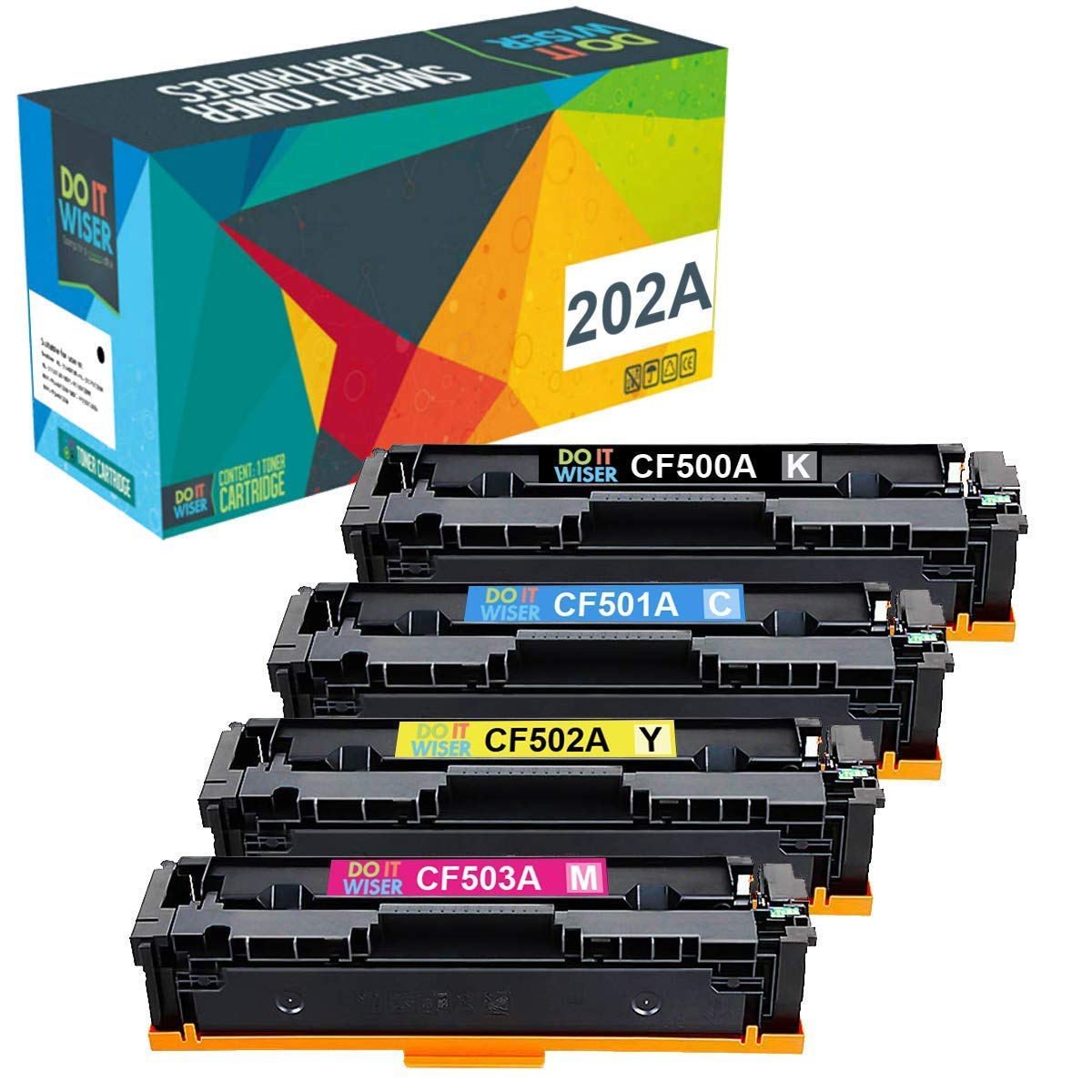 NO. 202X SuppliesMAX Compatible Replacement for HP Color Laserjet M254DW//M254NW//M280NW//M281CDW//M281FDN//M281FDW High Yield Toner Cartridge Combo Pack BK//C//M//Y CF50XBCMY