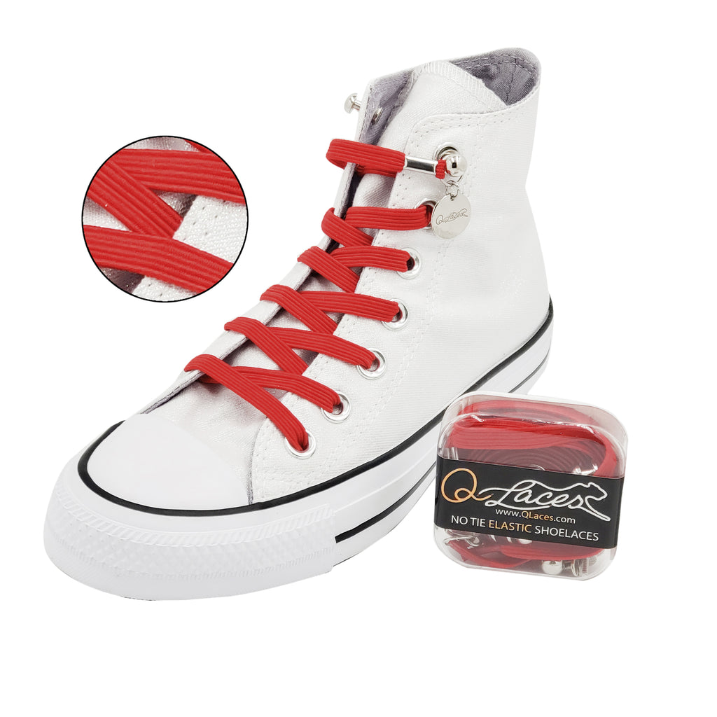 No Tie Shoelaces by Qlaces - red