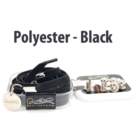 Image of Polyester Flat Black Elastic No Tie Shoe Laces by Qlaces