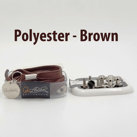 Image of Polyester Flat Brown Elastic No Tie Shoe Laces by Qlaces