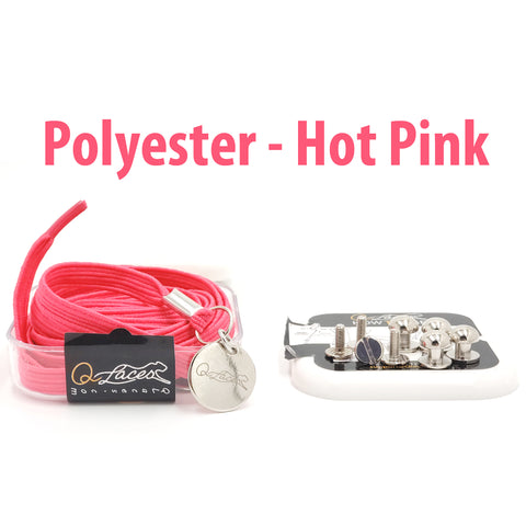 Polyester Flat Hot Pink Elastic No Tie Shoe Laces by Qlaces