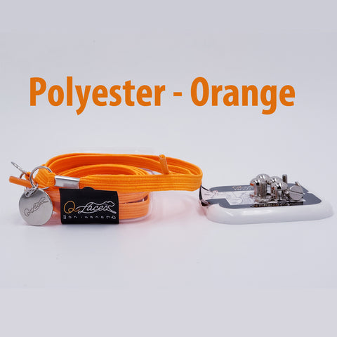 Polyester Flat Orange Elastic No Tie Shoe Laces by Qlaces