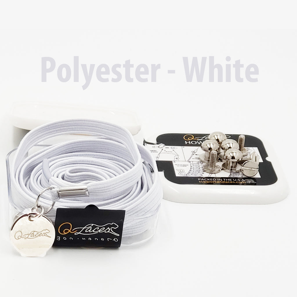 Polyester Flat White Elastic No Tie Shoe Laces by Qlaces