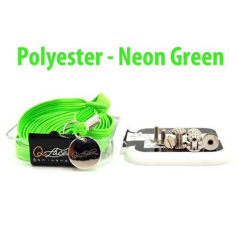 Image of Polyester Flat Neon Green Elastic No Tie Shoe Laces by Qlaces