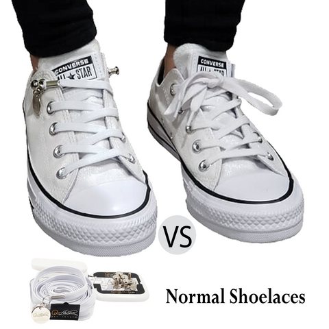 Image of Tieless White Elastic No Tie Shoelaces for Adults & Kids Sneakers