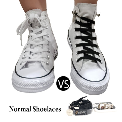 Image of Black Polyester Elastic No Tie Shoelaces for Adult & Kid, Sneakers, Shoes,