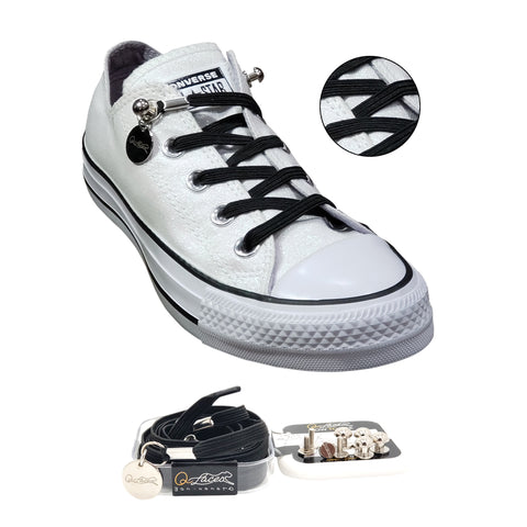 Black Polyester Elastic No Tie Shoelaces for Adult & Kid, Sneakers, Shoes,