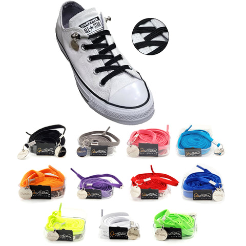 Tieless Black Elastic No Tie Shoelaces for Adults & Kids Sneakers