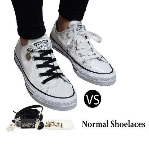 Black Elastic No Tie Shoelaces for Adults & Kids Sneakers, Shoes, Nylon