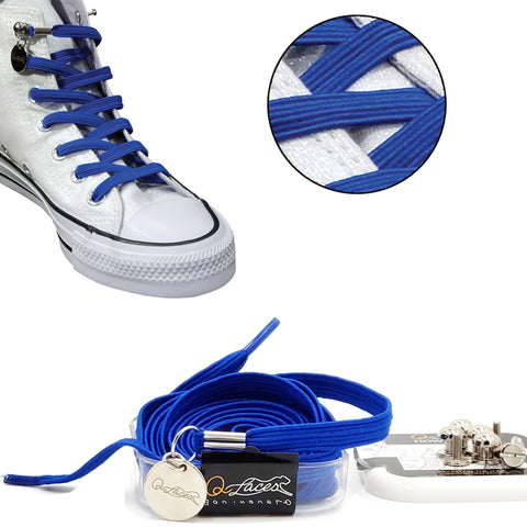 Image of Royal Blue Polyester Elastic No Tie Shoelaces for Adult & Kid, Sneakers, Shoes