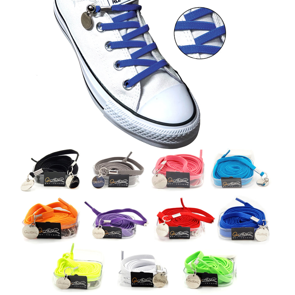 Royal Blue Nylon Elastic No Tie Shoelaces for Adults & Kids, Sneakers, Shoes