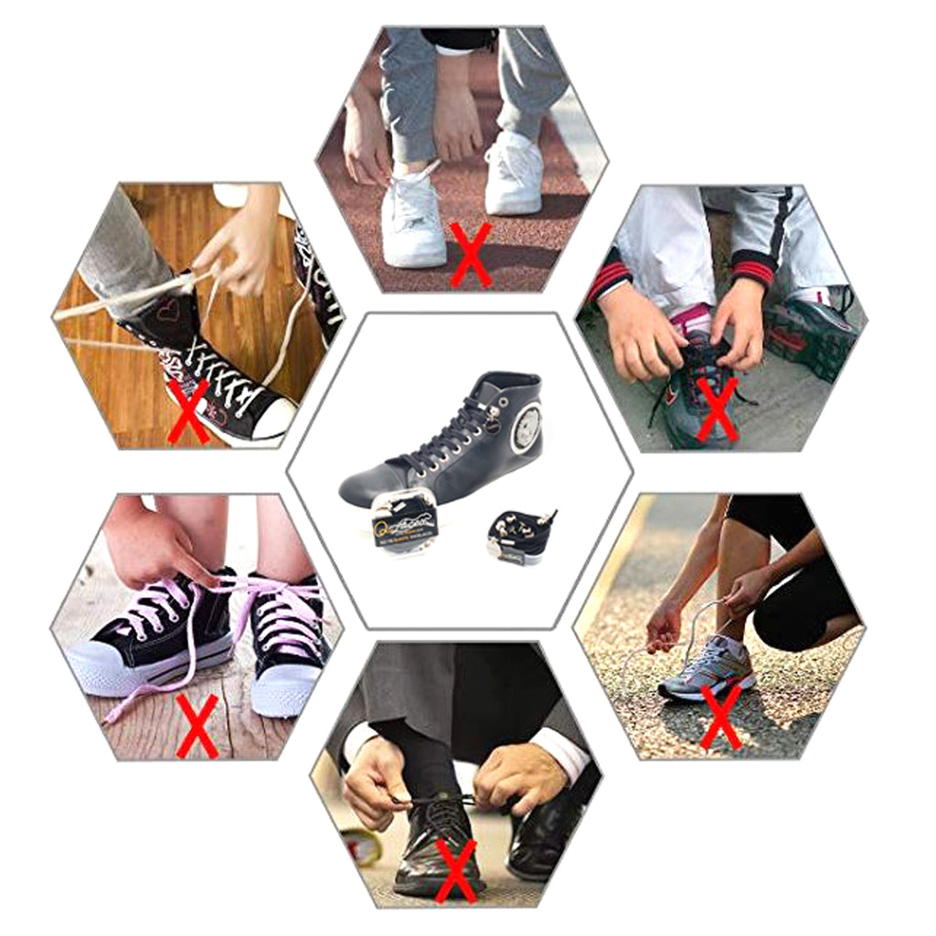 Black Nylon Elastic No Tie Shoelaces for Adults & Kids Sneakers, Shoes