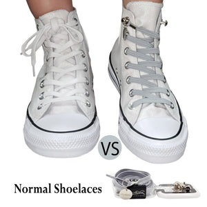 Gray (Grey) Polyester Elastic No Tie Shoelaces for Adult & Kid, Sneakers, Shoes